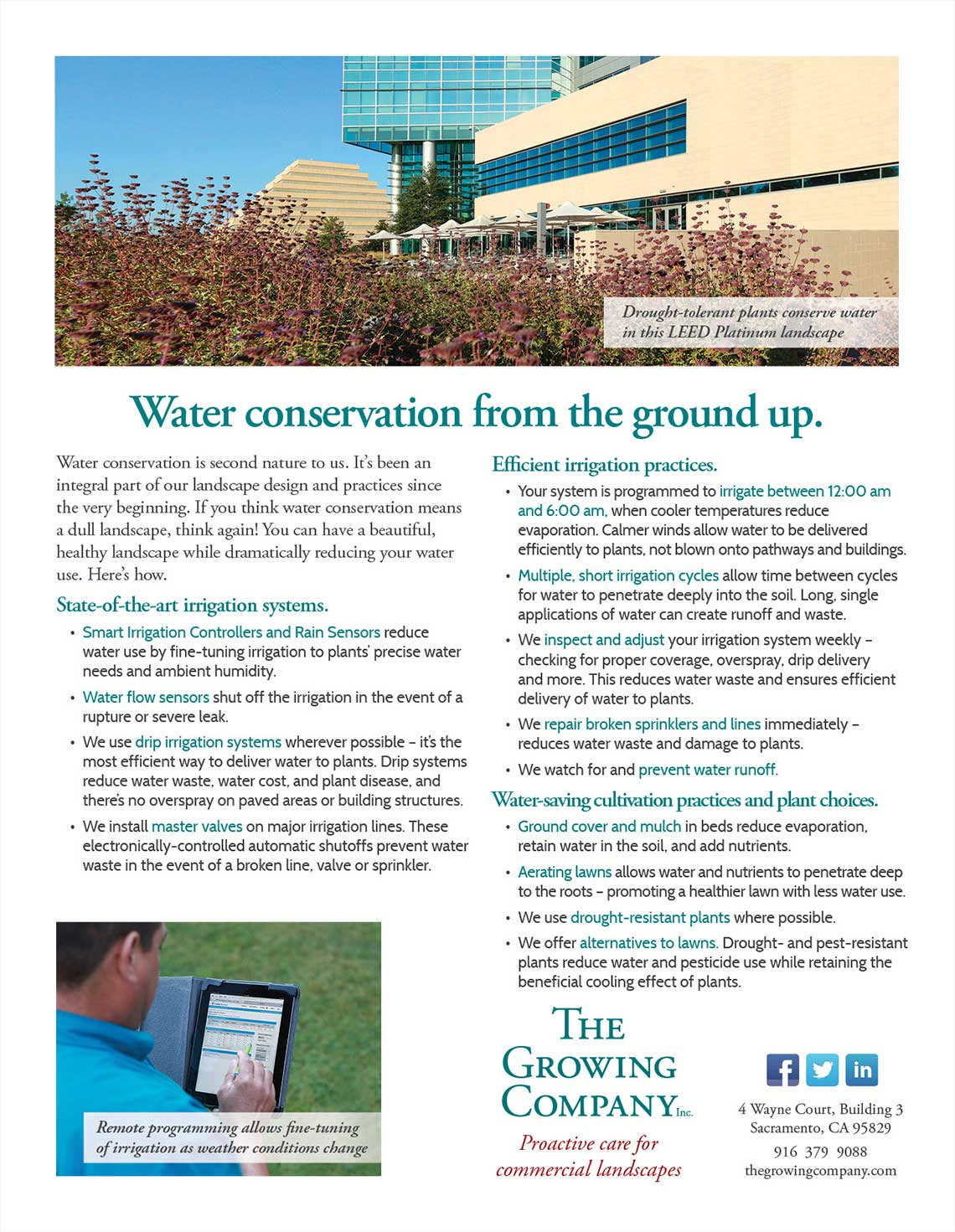Growing Company Water Conservation Flyer